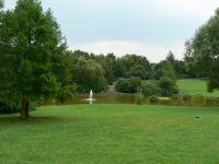 Ein Blick auf den Park und den Teich